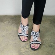 kami et muse Clear flower beads flat sandals_KM17s273