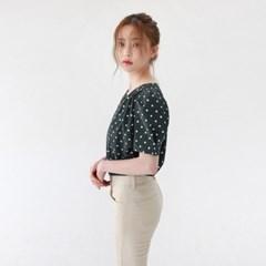 Retro dot puff blouse