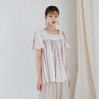 Square-neck stripe blouse