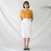 h-line banding linen skirt