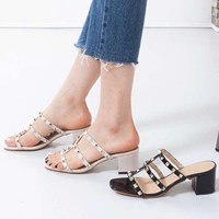 kami et muse Gold stud middle heel slippers_KM17s278