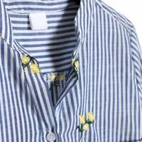 마리안 꽃자수 v넥 셔츠
