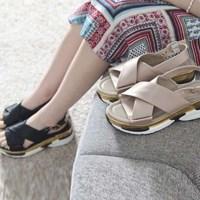 kami et muse Gold color mixed platform strap sandals_KM17s287