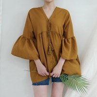 V-neck tassel blouse