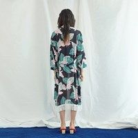 Kimono Fringe Robe in Palmtree