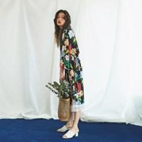 Kimono Fringe Robe in Flower