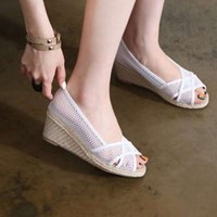 kami et muse Net fabric mash wedge sandals_KM17s297