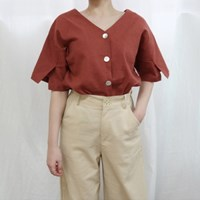Linen v-neck blouse