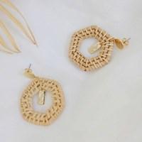 74 - rattan hexagon earring