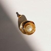 69 - pearl button earring