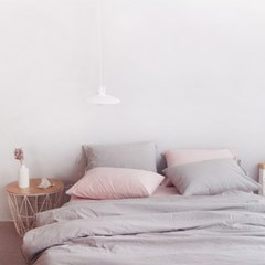 N 에스타도 천연염색 양면침구 - 베이지핑크&그레이 (싱글/슈퍼싱글)