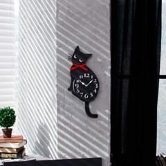 리본고양이벽시계