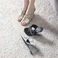 ami et muse Wide belt strap wedge heel slippers_KM17s313