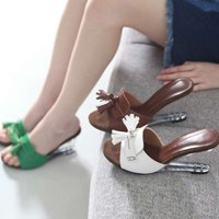 kami et muse Clear wedge tessle heel slippers_KM17s305