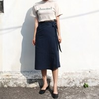 Linen long wrap skirt