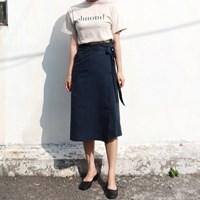 Linen long wrap skirt
