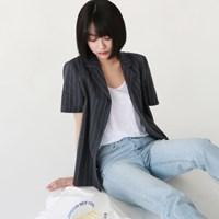 Daily linen stripe half shirts