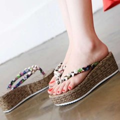kami et muse Beads strap fine mesh wedge flip flop_KM17s320