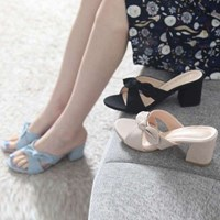 kami et muse Tied ribbon top heel slippers_KM17s319