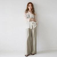 Loose-fit wide linen pants