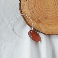 87 - wooden pentagon hoop earring