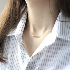 Simple square necklace (사각바 목걸이) [92.5 silver]