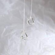 Twin circle earring (트윈 써클 드롭귀걸이) [92.5 silver]