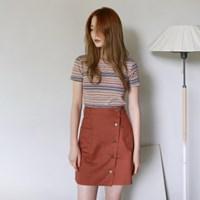 Wrap button skirts