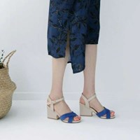 kami et muse Cross suede strap chunky heel sandals_KM17s330
