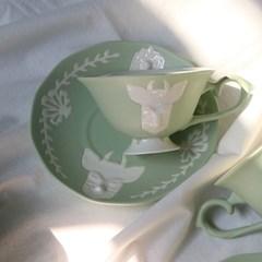 카페룸넘버1508 사슴홍찻잔세트 green pastel