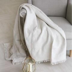 에스닉 면직조 블랑켓(담요) - 화이트