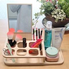 자작나무 화장품 정리대, 메이크업 정리함,거울 포함 -포코
