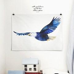 패브릭 천 포스터 F044 동물 그림 수채화 파랑새