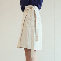 HALF WRAP SKIRT-LIGHT BEIGE