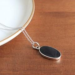 오닉스 오벌 팬던트 목걸이 onyx oval pendant necklace