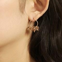 beige crystal blossom earring