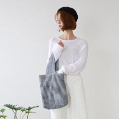 Stripe&check linen bag