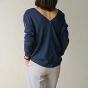 v-neck button knit