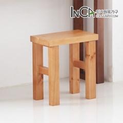 [잉카]다용도 소나무 원목 직사각 1인의자 2컬러