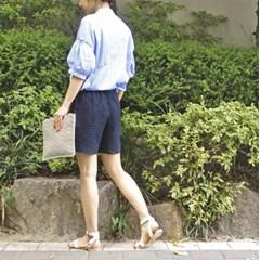 [츄즈] 컬러 플라워 자수 스트라이프 셔츠