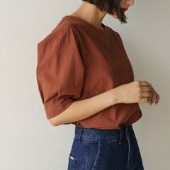 back zip-up puff sleeve blouse
