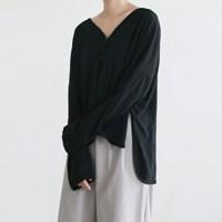 Slit linen cardigan