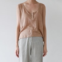 Button natural linen sleeveless