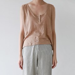 Button natural linen sleeveless