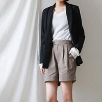 Wide cotton half pants