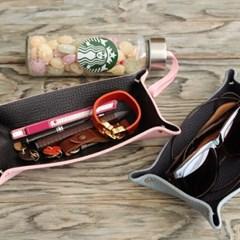 가죽 트레이L,18.5x10cm(핑크+블랙)P90633