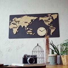 사각 세계지도 시계/무소음 벽시계