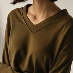 v-neck drop shoulder knit