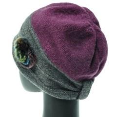 [더그레이]KU21C.밍크 코사지 니트 여성 비니 벙거지 모자