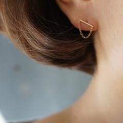 10k gold chain bar earring